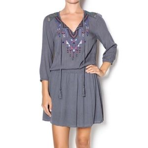 {Flying Tomato} Gray Drop Waist Aztec Boho Dress